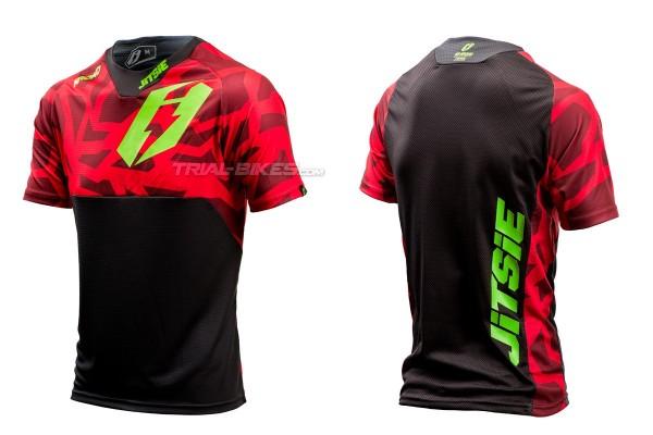 Camiseta Jitsie B3 Kroko Rojo/Verde Fluo
