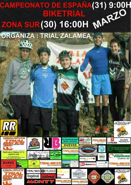 Cartel Campeonato de Bike Trial en Zalamea 2013