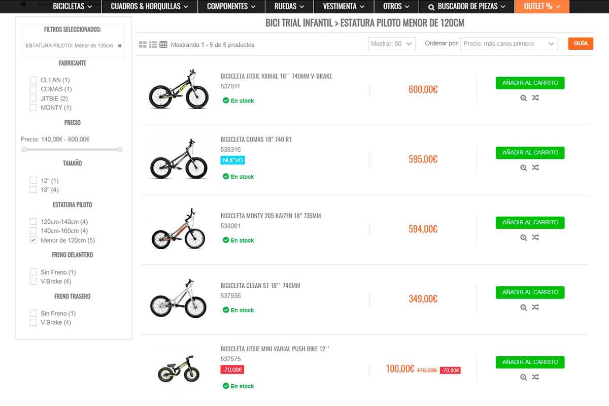 Bicicleta de trial niños