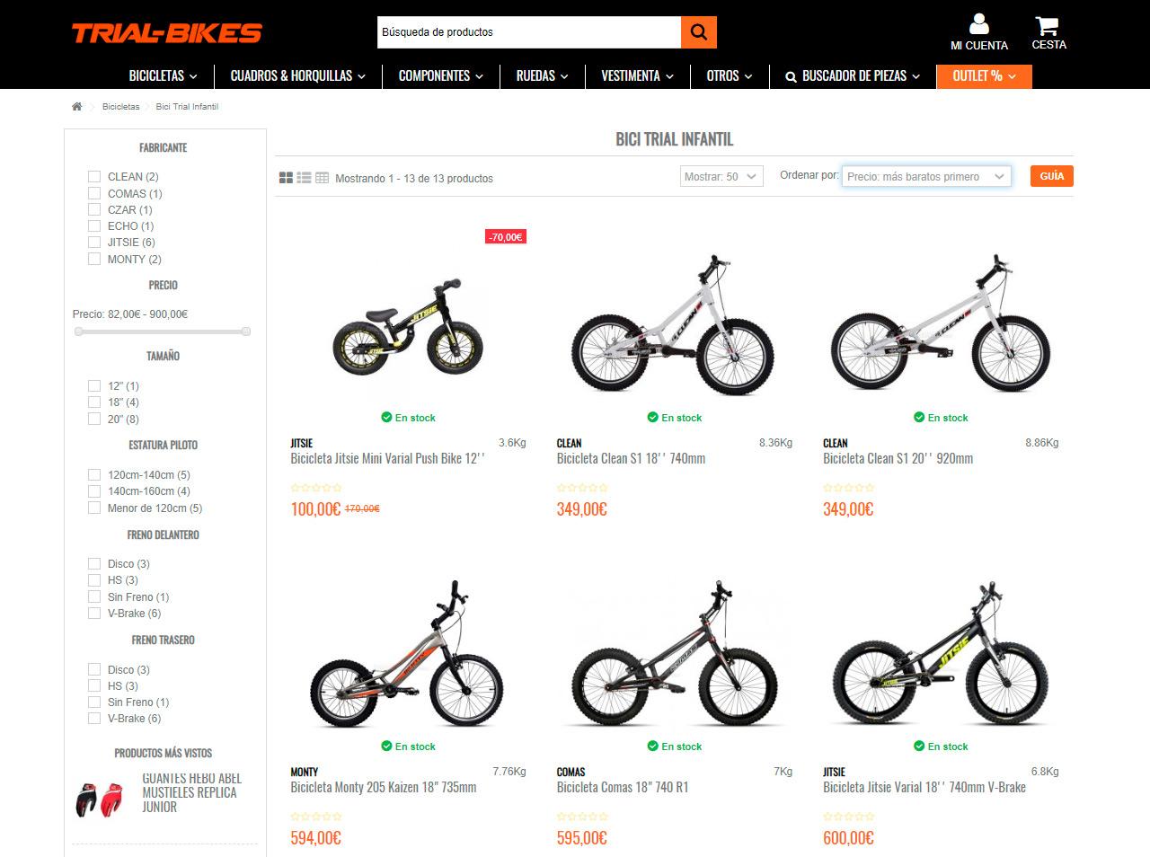 bicicletas trial infantil